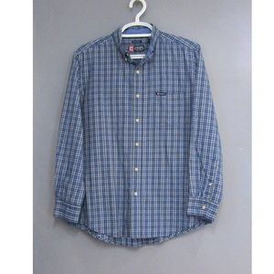 Chaps Easy Care Blue Check Shirt Size L